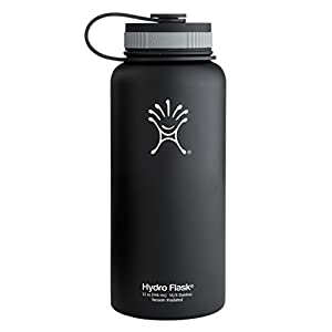 Hydro Flask Insulated Wide Mouth Stainless Steel Water Bottle, Black Butte, 32-Ounce