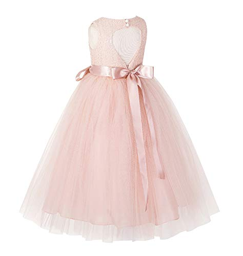 ekidsbridal Heart Cutout Sequin Junior Flower Girl Dress Christening Dresses 172seq 8 Blush Pink