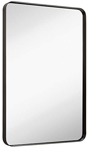 Hamilton Hills Contemporary Brushed Metal Wall Mirror | Glass Panel Bronze Framed Rounded Corner Deep Set Design | Mirrored Rectangle Hangs Horizontal or Vertical (24