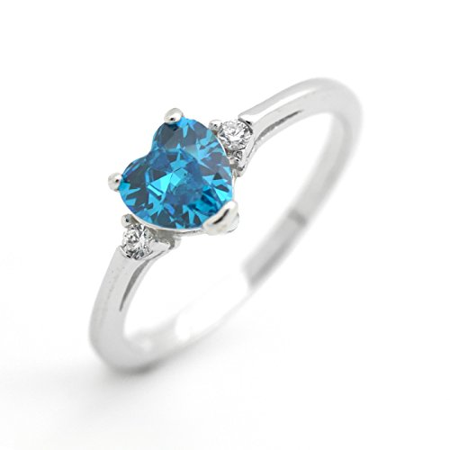 December Birthstone Ring - Cute Heart Simulated Birthstone Cubic Zirconia Sterling Silver Birthday Gift Ring Size 5 - Blue Topaz