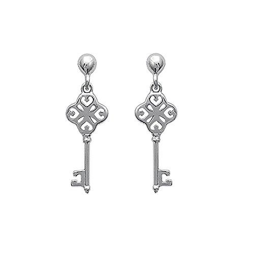 Tousmesbijoux Boucles d'oreilles pendantes clé Argent 925/00