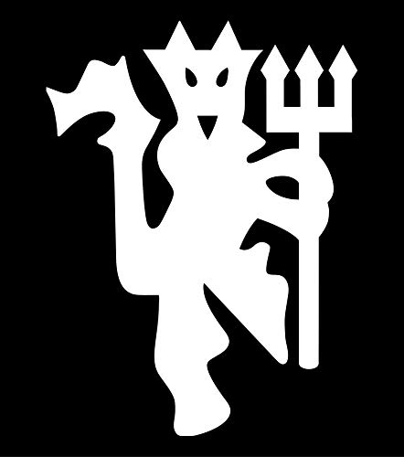 Manchester United Football Club Devil Vinyl Decal Sticker for Wall Decoration car Laptop yeti keypad MacBook Door Window (White, 3