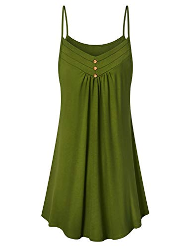 Viracy Women's Summer Spaghetti Strap V Neck Knee Length Flowy Cami Dress (Army Green, Large)