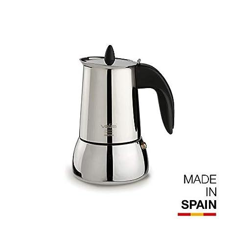 Valira Cafetera INOX, Apta para inducción, 4 Tazas, Acero Inoxidable