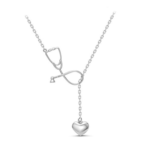 - MAIDIEN Women Necklace Stethoscope Heart Pendant Stainless Steel Nurse Medical Stethoscope Chain Necklace Silver