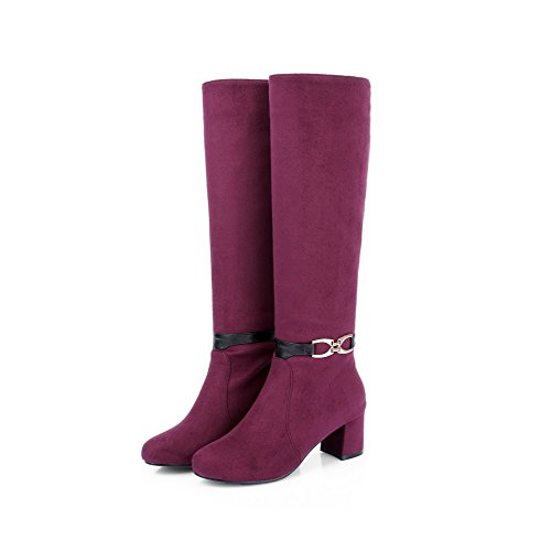 AllhqFashion Womens Frosted High Top Solid Pull On Kitten Heels Boots Claret IUjjA