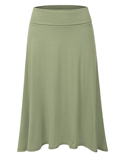 DRESSIS Women's Basic Elastic Waist Band Flared Midi Skirt DUSTYSAGE ()