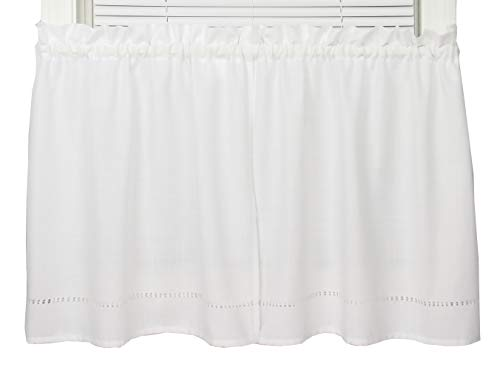 Moments 58 Inches Wide x 30 Inches Long Polyester Embroidered Tier Curtain, White (Curtain 30 Tier)
