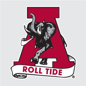 Alabama Crimson Tide CLASSIC AL w/ A ROLL TIDE SCROLL 6