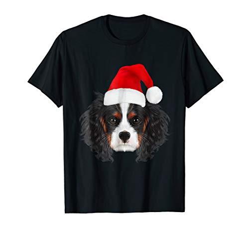 Cavalier King Charles Spaniel in Santa Hat Christmas T Shirt