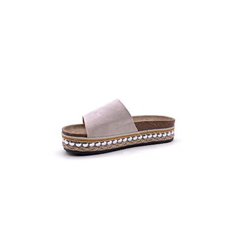 Confortable Sandale Angkorly Plat Femme Ouvert Chaussure Perle De Mule Avec Mode Simple Basique Beige La Grosse Semelle Talon Paille fqr0qEwx