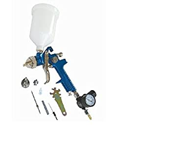 TruePower HVLP Gravity Feed Spray Gun with Air Regulator and 2 Nozzles -1.4 mm and 1.7 mm