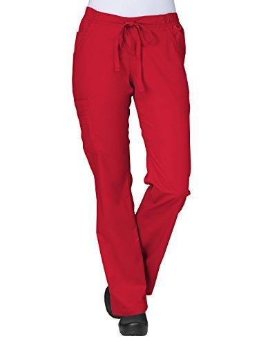 Blossom By Maevn Women's Straight Leg Cargo Scrub Pant Large Tall (Crimson Cotton)