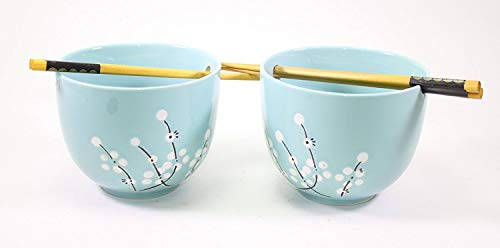 Set of 2 Blue Flower Bowls and 2 pairs of Wooden Chopsticks Home Decor Utensils by We pay your sales tax