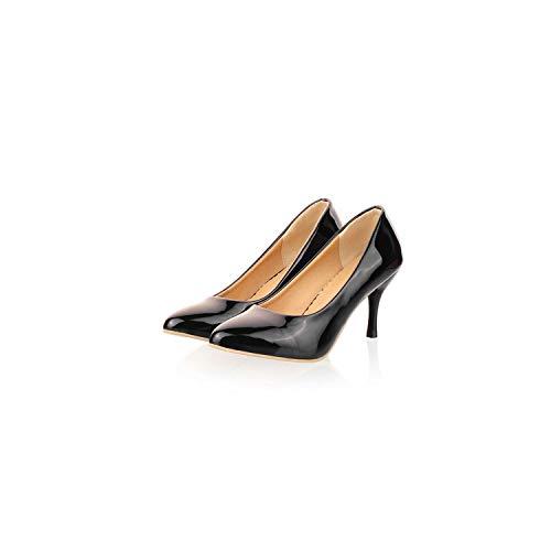 3' Platform Black Pump - Sunshine-Family Women Shoes Pointed Toe High Heel Shoes Wedding Heels,Black,4