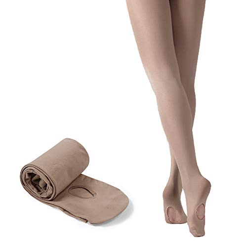 STELLE Girls' Ultra Soft Pro Dance Tight/Ballet Transition Tight (Toddler/Little Kid/Big Kid) (S, Tan)
