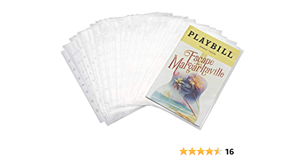PU Leather Black//Gold Foil w//Window Fits Playbills from Mid 1980s to Modern Broadway Play Program and Theater Playbill Binder with 30 Custom Sheet Protectors