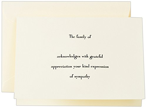 Crane & Co. Hand Engraved Ecru Sympathy Acknowledgement Note (CF1442)