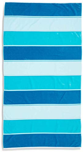 "Caro Home Maya Beach Towel (Aqua) - 100% Cotton Premium Quality X-Large Maya Striped, Blue, Cool, Teal, Turquoise, 36"" x 68"" Thick and Plush Combed Cotton 410 GSM (Beach Cabana Lounge)"