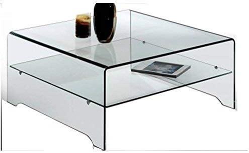 Crespo Decoración Mesa de Centro de Cristal Curvo 100 x 100 Modelo ...