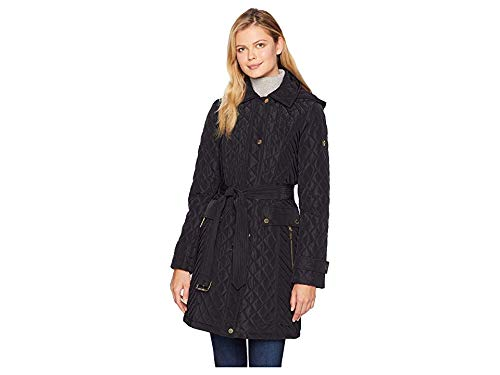 Michael Michael Kors Women's Snap Front Long Belted Quilt Coat M423752GZ Black - Snap Belted