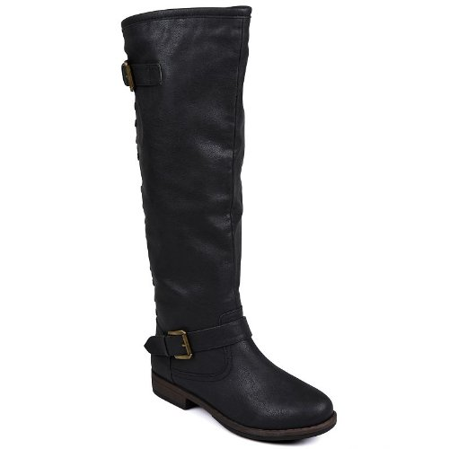 Journee Collection Black Spokane Studded Tall Boots - Women ()