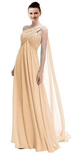 VaniaDress Women One Shoulder Chiffon Long Prom Dress Formal Gowns V191LF Champagne US10