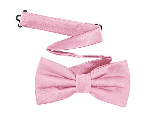 (TINYHI Men's Pre-Tied Satin Formal Tuxedo Bowtie Adjustable Length Satin Bow Tie Pink One Size)