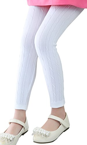 BOGIWELL Kids Girls Autumn Winter Cotton Stretch Cable Knit Tight Leggings Pants White(US 4-5T,Tag 120)