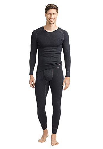 con-ta Thermo Lange Hose mit Eingriff, Lange Unterhose für Herren, wärmende Unterwäsche mit natürlicher Baumwolle, Herrenbekleidung, Farben: Marine, Schwarz, Größen: 5-10