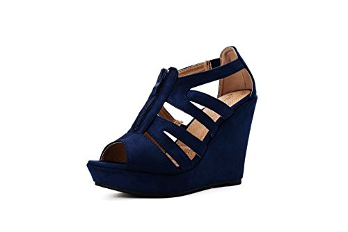 Blue Wedge Shoes - Mila Lady Lisa 5 Strappy Open Toe Platform Wedges Navy 11