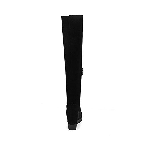 Metal Botas Alta Sólido Mujeres Negro Plataforma Caña Con Cremalleras Odomolor nUHxqZwY8