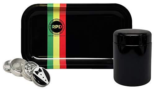 ass Stash Jar, Hippie Butler 42mm Grinder, with Rolling Paper Depot Rolling Tray (Rasta Racer) - 3 Item Bundle ()