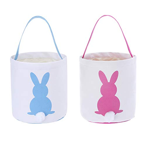 - Easter Eggs Baskets Kids Bunny Tote Bag for Egg Hunts, Party, Toys and Gifts - 2 Pack