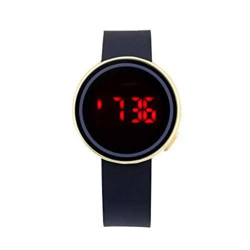 Boys Watch LED Sport Digital Touch Screen Outdoor Watches Boys Girls Men Women Gift Dress Watch Gold (Red Light)