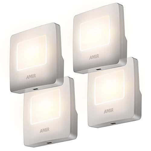 - AMIR Plug-in Night Light, LED Nightlight with Auto Dusk to Dawn Sensor, Energy Efficient Night Lamp for Bathroom, Hallway, Nursery, Stairway, Kitchen, UL Listed Plug (Warm White,Pack of 4)