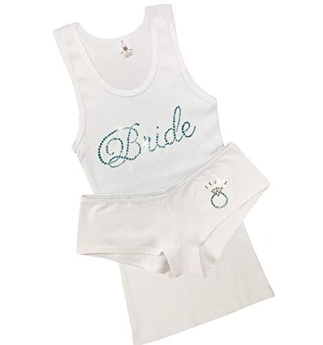 Bridal Lingerie Boyshort Pajama Set with Bride and Ring (White/Aquamarine, S (0-2))