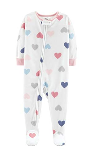 - Carter's Toddler Girl Microfleece Footed Pajamas (Cream w Hearts, 3T)