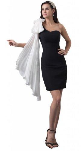 Orifashion para vestido de noche mujer corto blanco y negro Schwarz und Weiß