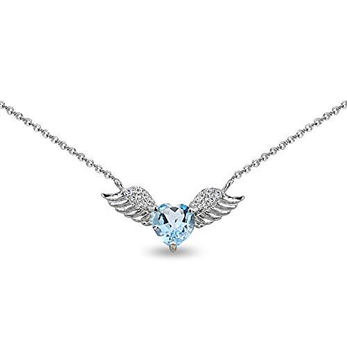 Baby Heart Ring Topaz - Sterling Silver Blue Topaz & CZ Heart Angel Wings Necklace for Girls, 15