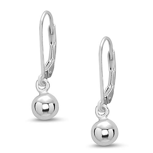 - Tisoro Sterling Silver Ball Earrings 6,8,10,12 or 14mm Leverback - 100% Hypoallergenic - Allergy Free (6.00)