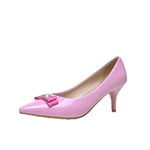 Allhqfashion Dames Pu Solide Kitten-hakken Pull-on Gesloten-teen Pumps-schoenen Roze
