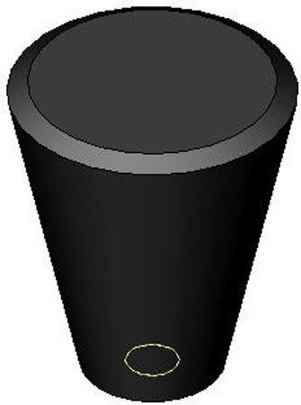 Oval//Tapered Plastic Knob w//Black Brass Insert 10-32 thds. 1 Each 3//4 dia.