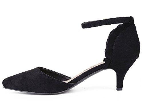 DOrsay Strap Women Shoes Shoes Ankle MaxMuxun Dress Women Pumps MaxMuxun Ankle Black Strap fqfp8Rz