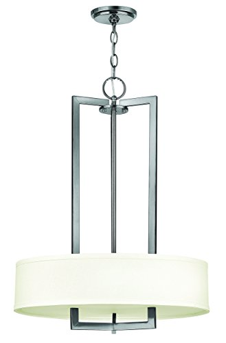 Hinkley 3203AN Transitional Three Light Inverted Pendant from Hampton collection in Pwt, Nckl, B/S, - Hinkley Lighting Chandelier Contemporary