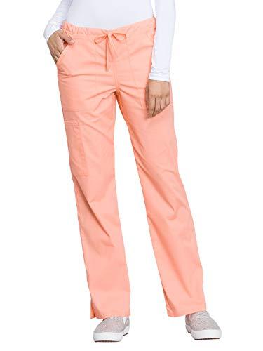 (Cherokee WW Professionals WW160 Mid Rise Straight Leg Drawstring Pant Orange Squeeze 2XL)
