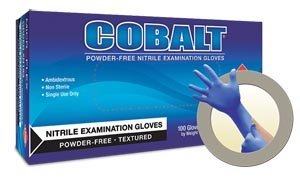 Microflex N192 Cobalt Exam Gloves, PF Nitrile, Textured, Blue, Medium, 100 per Box, 10 Box per Case (Pack of 1000)