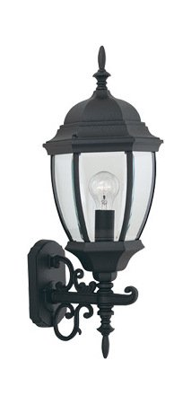 Black 1 Light 9.5in. Cast Aluminum Wall Lantern from the Tiverton Collection Tiverton 1 Light Cast