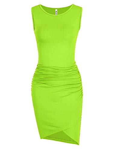 Missufe Women's Casual Sleeveless Tank Ruched Bodycon Sundress Irregular Sheath T Shirt Dress (Sleeveless Lime, Small)
