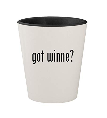 Dixie Cup Coupons - got winne? - Ceramic White Outer & Black Inner 1.5oz Shot Glass